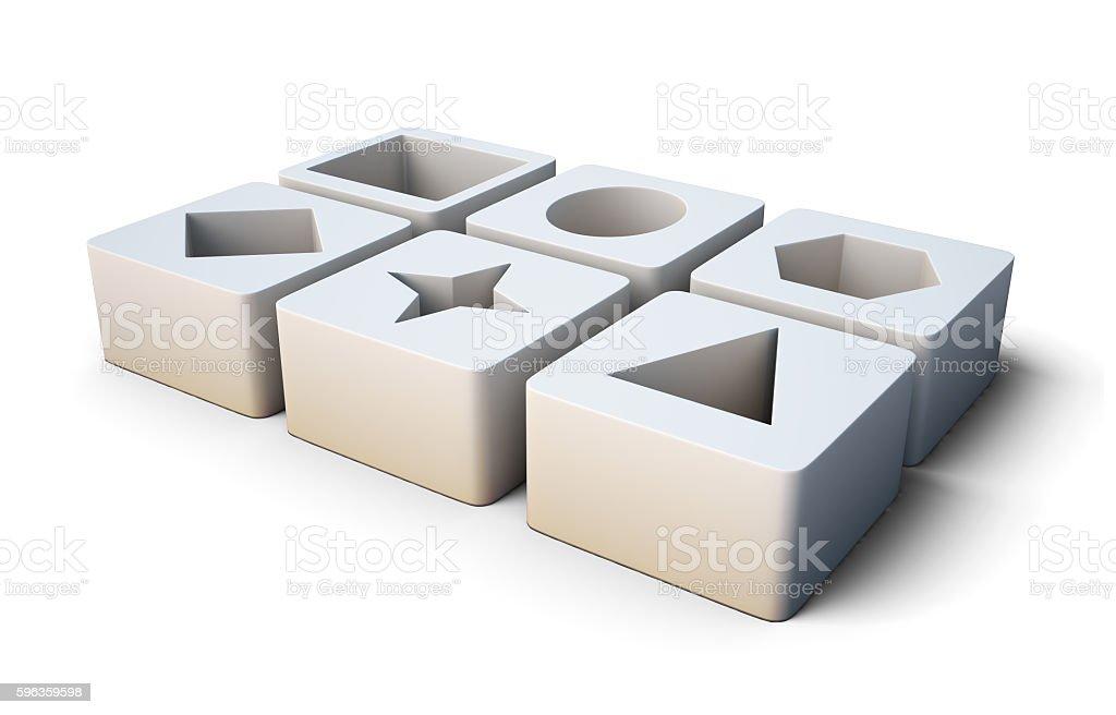 Set of educational white blocks  isolated on white background. 3 royalty-free stock photo