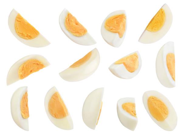 set of eggs on a white background stock photo