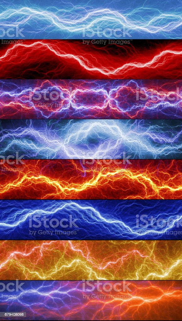 Set of eight abstract lightnings royalty-free stock photo