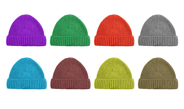 set of eight color woolen caps isolated on white background stock photo