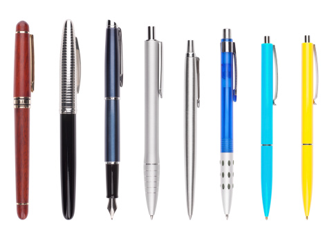 Set of eight different pens. All with individual clipping path.