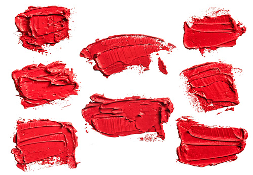 Set of eight textured red oil paint brush stroke, convex with shadows, isolated on white background. Each item can be downloaded separately in high resolution in my portfolio.