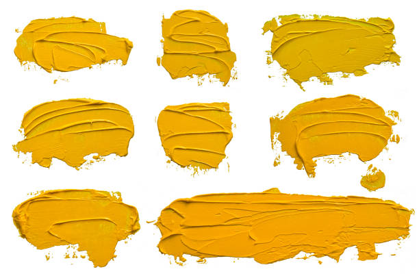 Set of eight textured yellow oil paint brush stroke, convex with shadows, isolated on white background. Each item can be downloaded separately in high resolution in my portfolio. stock photo