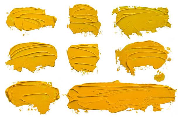 jeu de coup de pinceau sur peinture à l'huile jaune texturée huit, convexe avec ombres, isolé sur fond blanc. chaque article peut être téléchargé séparément en haute résolution dans mon portefeuille. - convexe photos et images de collection