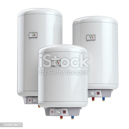 istock Set of electric boilers , water heate  difference size isolated on white background. 1046529572