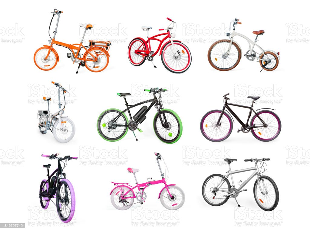 Set of electric, urban, cruiser, MTB and folding bikes isolated on white stock photo