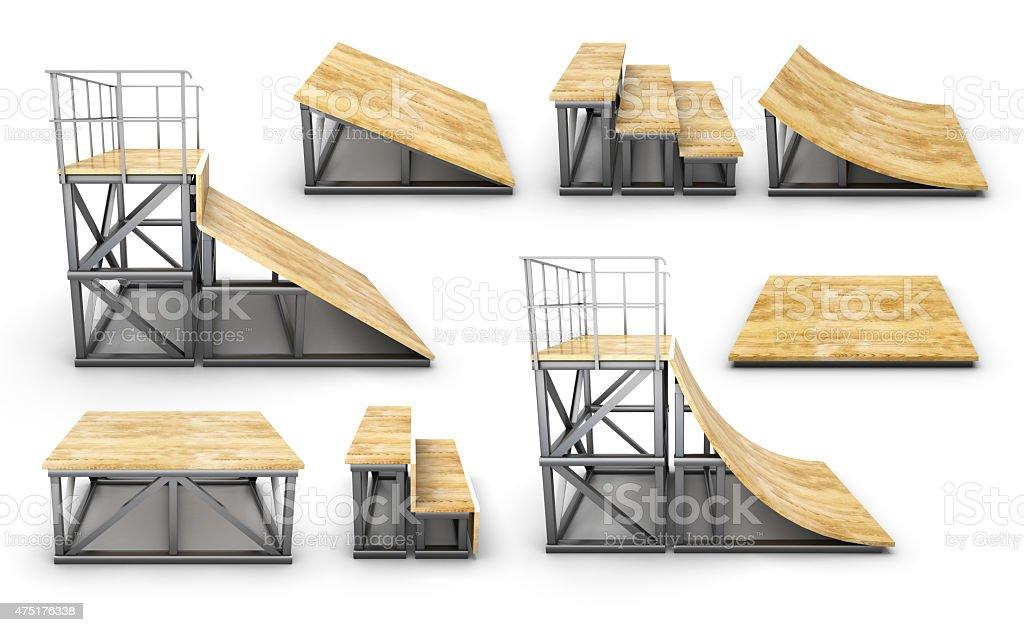 Set of element skatepark on a white stock photo