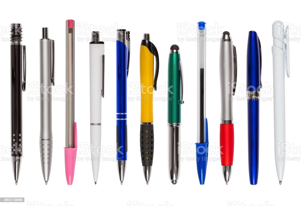 Set of Eleven Different Pens (clipping path) stock photo