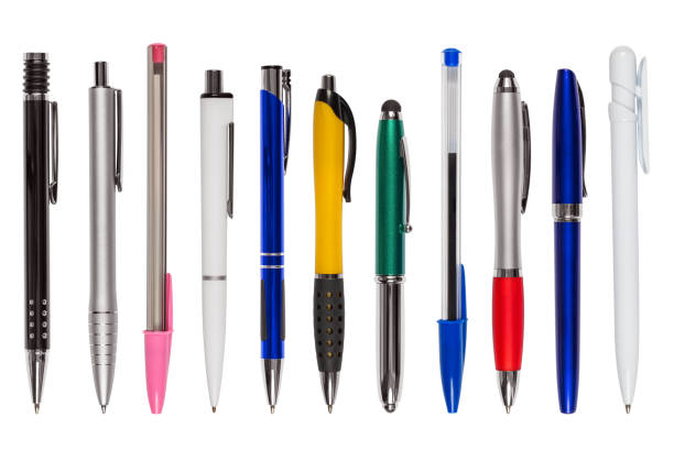 Set of Eleven Different Pens (clipping path) - foto stock