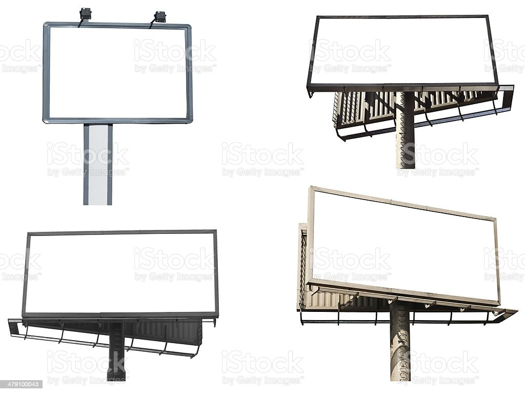 Set of empty billboards isolated on white background stock photo
