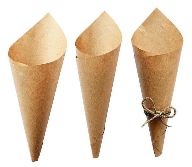 Set of empty craft paper cornets stock photo
