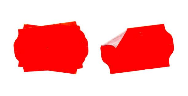 Satz von leeren Grunge Klebstoff Preisaufkleber, rote Preisschilder, mit freiem Kopierplatz, isoliert auf weißem Hintergrund – Foto