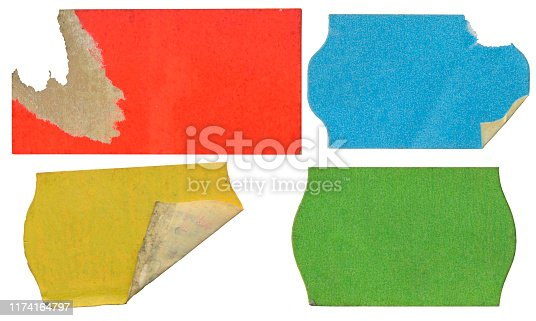 Set of empty grungy adhesive price stickers, red price tags, with free copy space, isolated on white background