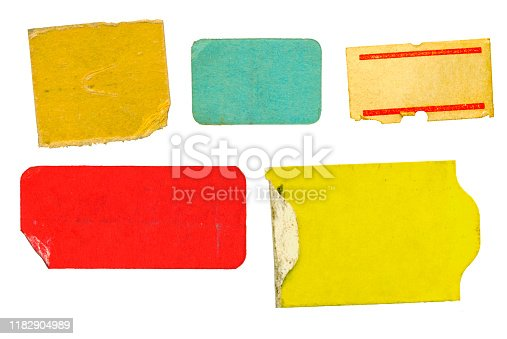 set of empty grungy adhesive price stickers, price tags, with free copy space, isolated on white background