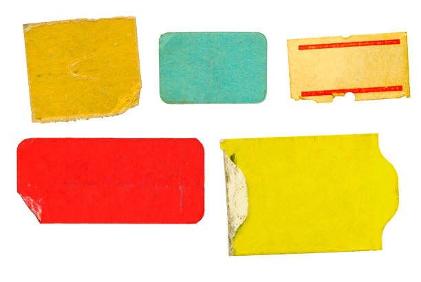 Satz von leeren Grunge Klebstoff Preisaufkleber, Preis-Tags, mit freiem Kopierplatz, isoliert auf weißem Hintergrund – Foto