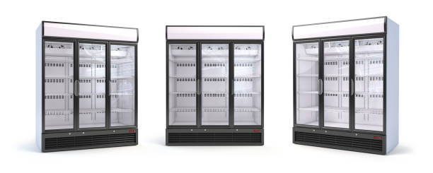 Set of empty showcase refrigerators in the grocery shop. Fridge with glass door isolated on white. stock photo