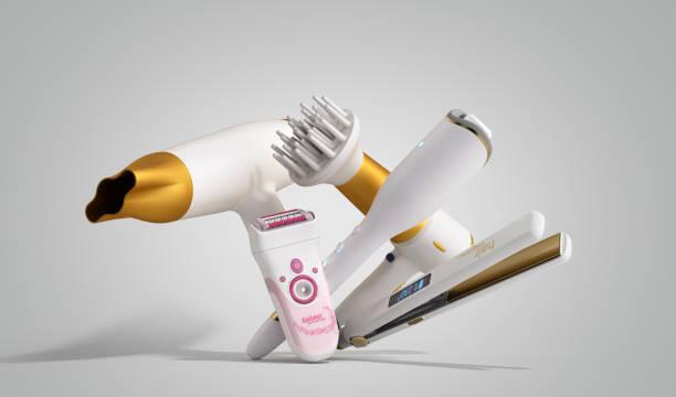 set of equipment for hair care hair dryer, epilator, curling iron, hair straightener 3d render on grey stock photo