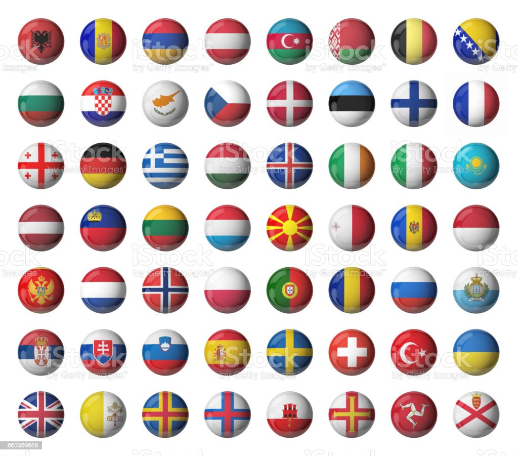 Set of Europe glossy flags stock photo