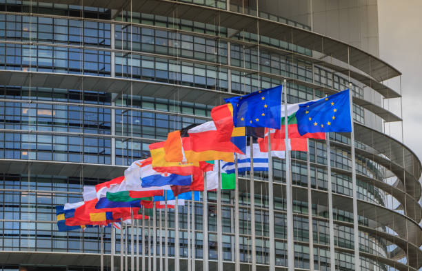 Set of European flags in front of the European Parliament Strasbourg, France - December 28, 2017: Set of European flags in front of the European Parliament on a winter day berlaymont stock pictures, royalty-free photos & images