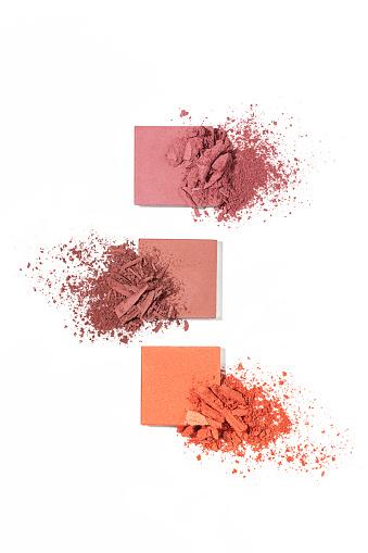 Set of eyeshadow sample isolated on white background