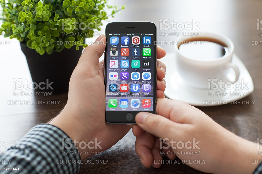 Set of famous social networking on the iPhone 6 stock photo
