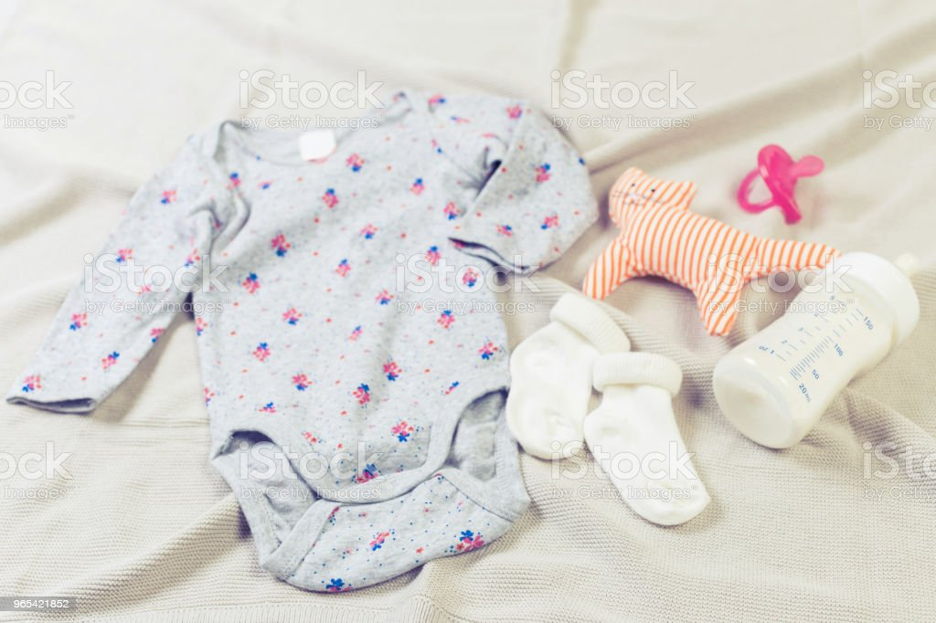 set of fashion trendy clothes and kids stuff for little baby girl royalty-free stock photo