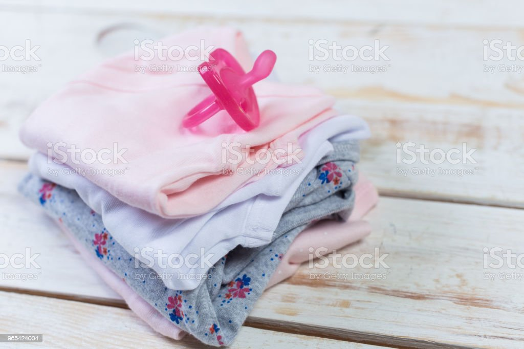 set of fashion trendy clothes and kids stuff for little baby girl zbiór zdjęć royalty-free