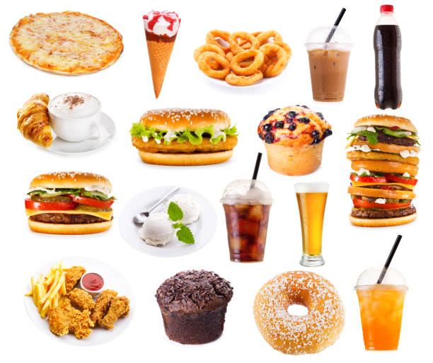 set of fast food products set of fast food products isolated on white background unhealthy eating stock pictures, royalty-free photos & images