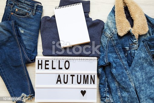 istock Set of female autumn clothes, modern board with text 'Hello autumn', blank notepad. Top view, from above, flat lay. 1018095562