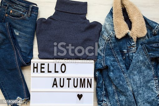 istock Set of female autumn clothes, modern board with text 'Hello autumn'. Top view, from above, flat lay. 1018095540