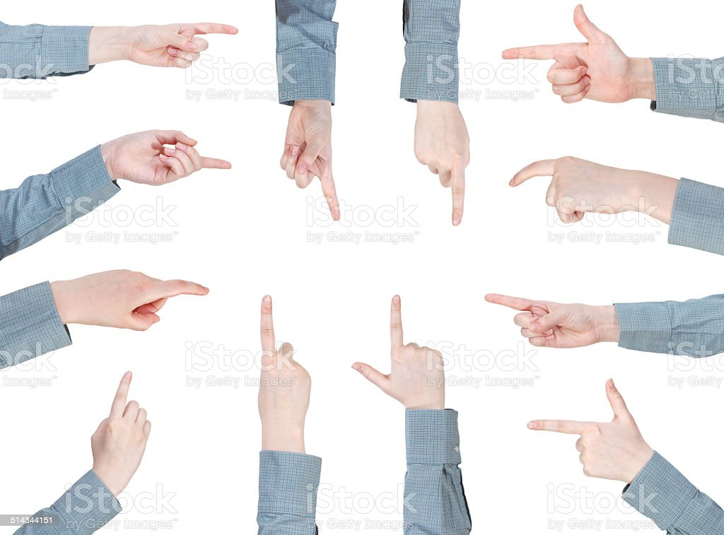 set of female hand gesture with forefinger stock photo