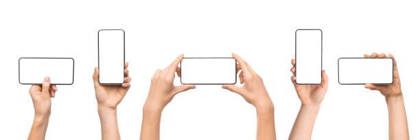 set di mani femminili che tengono lo smartphone con schermo vuoto - smart phone foto e immagini stock