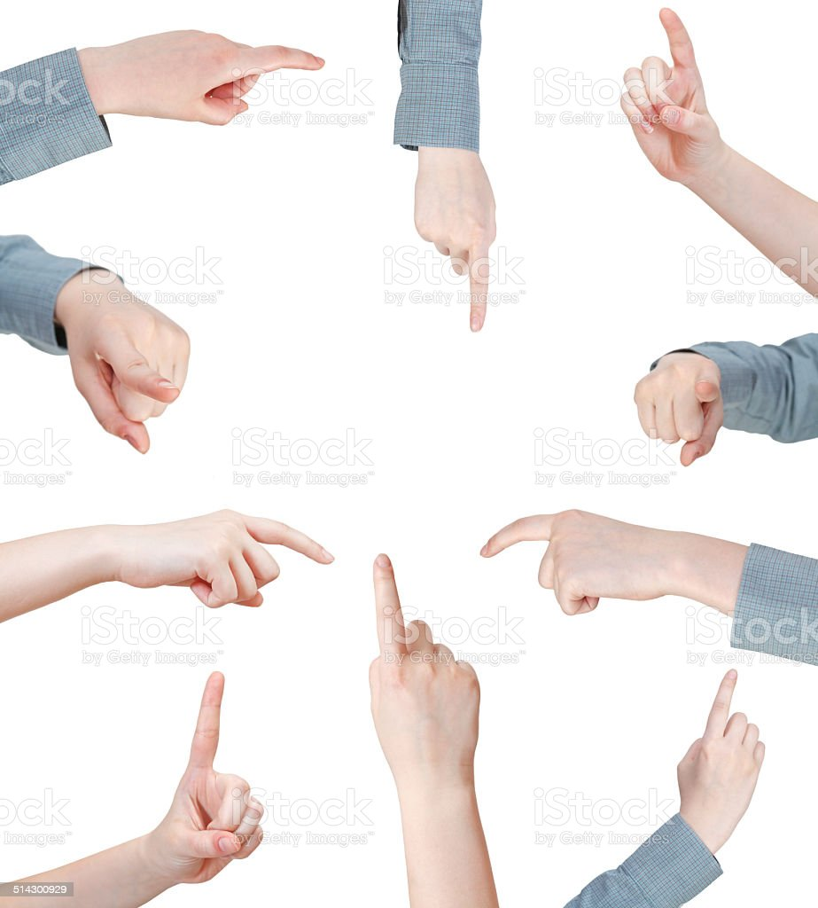 set of female pressing forefinger - hand gesture stock photo