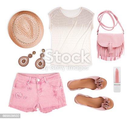 Set of female tourist summer clothing isolated on white background