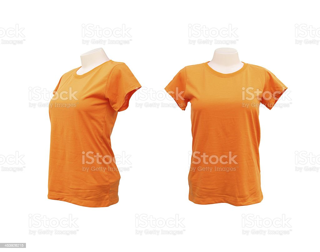 set of female tshirt template on the mannequin stock photo