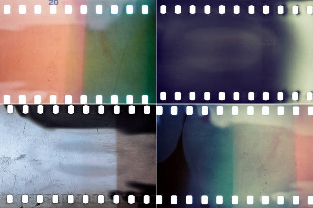 Set of film textures Set of colorful grungy film textures with lots of grain, dust, scratches and light leaks film negative stock pictures, royalty-free photos & images