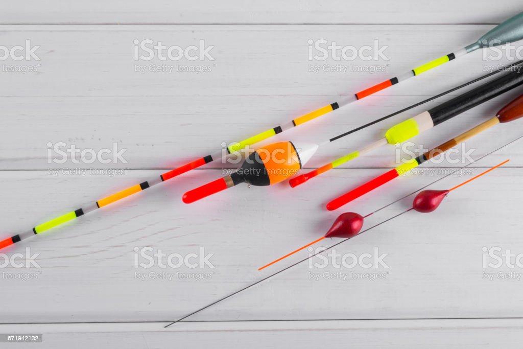 Set of fishing floats stock photo