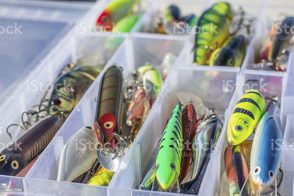 Set of fishing lures stock photo