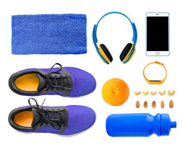 fitness-zubehör-set - armband water stock-fotos und bilder