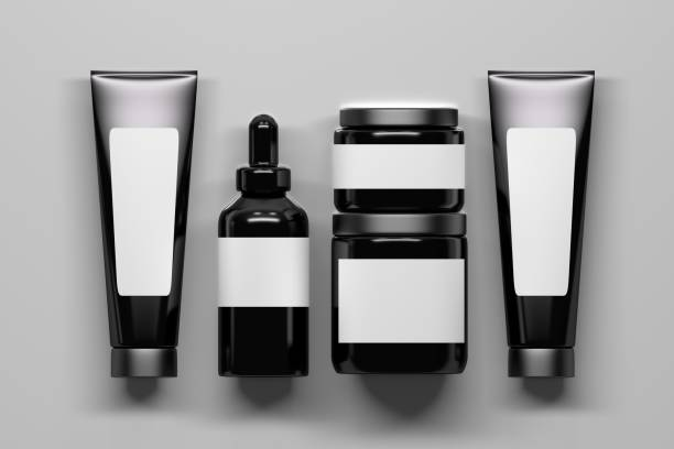 Set of five cosmetic packaging bottles stock photo