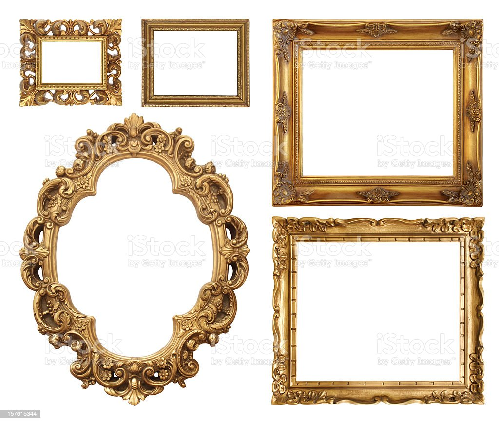 Set of five gold frame designs stock photo more pictures of set of five gold frame designs royalty free stock photo jeuxipadfo Gallery
