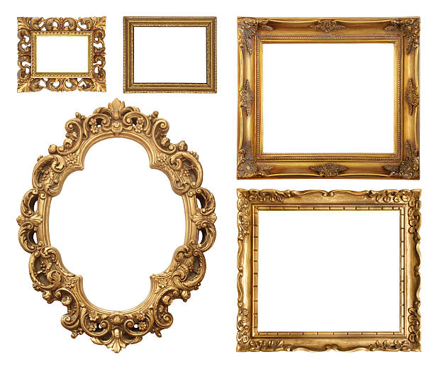 set of five gold frame designs - barokstijl stockfoto's en -beelden