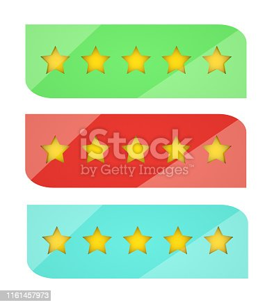 istock Set of five stars rating design elements in modern 3D glossy design. Rank bars with mirror effect. 3D rendering 1161457973