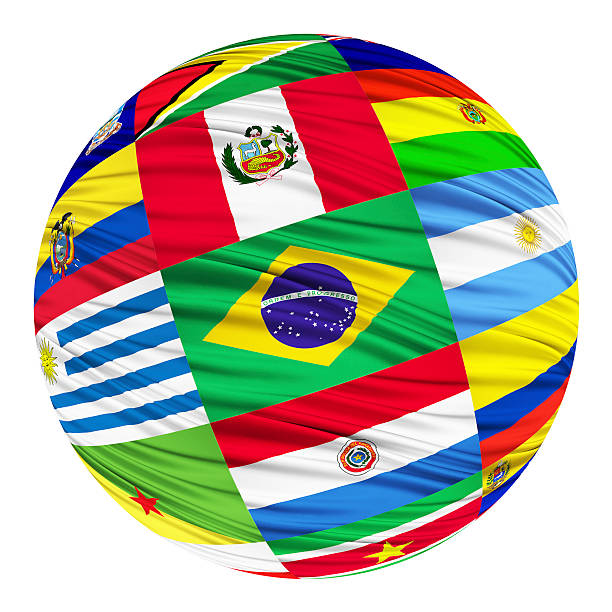 Set of flags of South American countries in alphabetical order stock photo