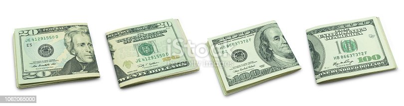 Set of folded twenty and hundred banknote isolated on white background with clipping path.