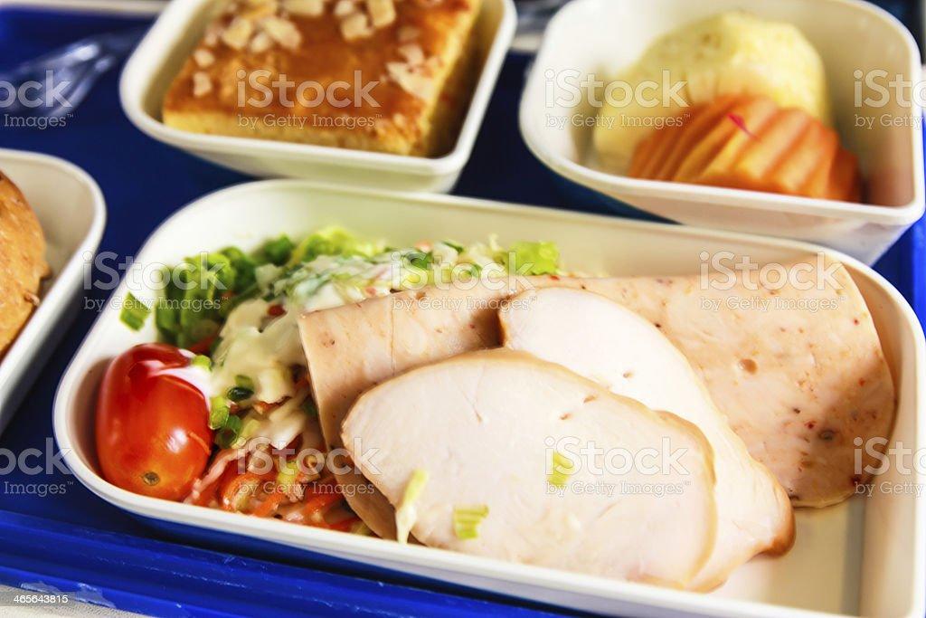Set of food on plane stock photo