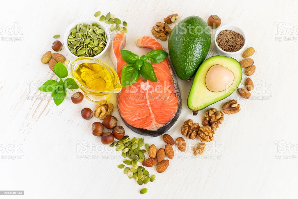 set of food with healthyl fats and omega-3 stock photo