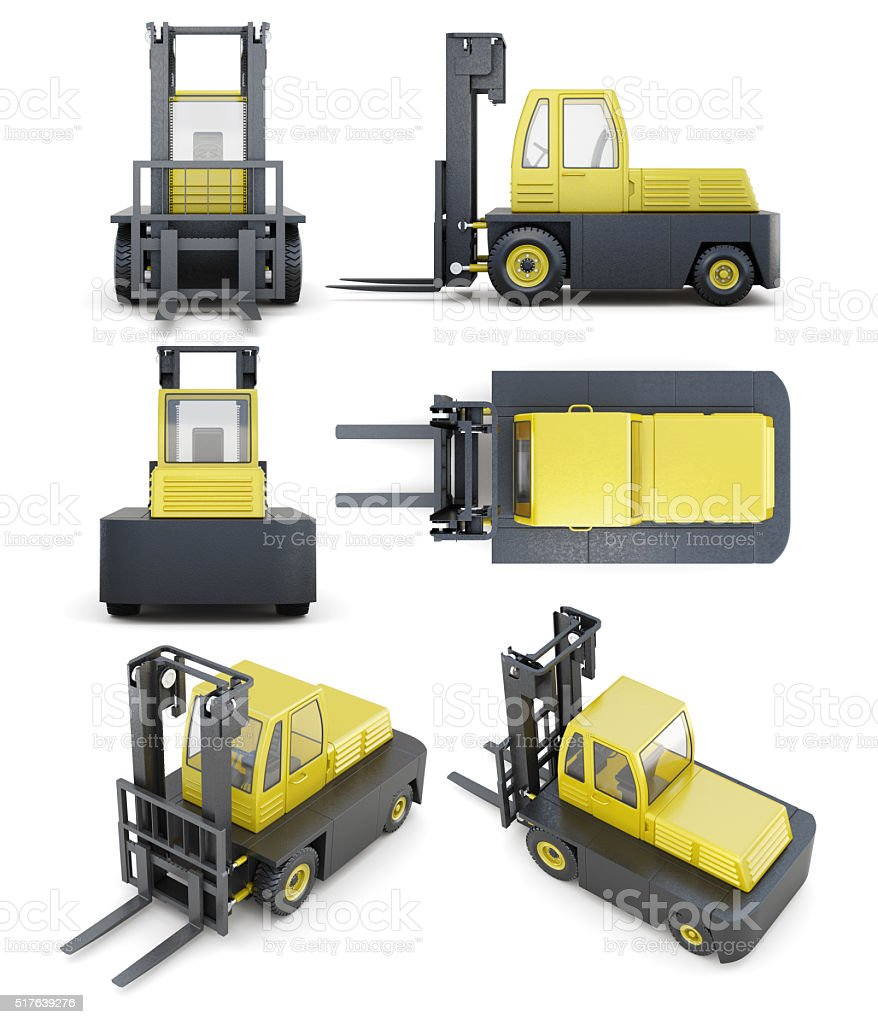 Set of forklift isolated on white background. 3d render image stock photo