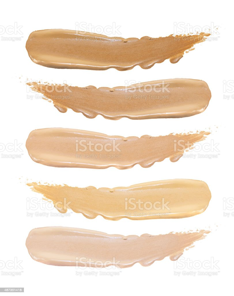 Set of foundation swatches isolated on white background stock photo