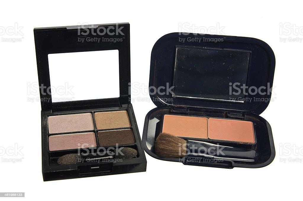 Set of Four Colors Eye Shadows Two Tone Blush On stock photo
